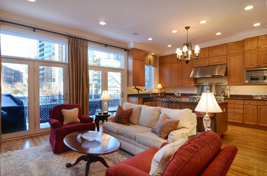 Real Estate Photography - 493 N Canal, Chicago, IL, 60654 - Family Room / Kitchen