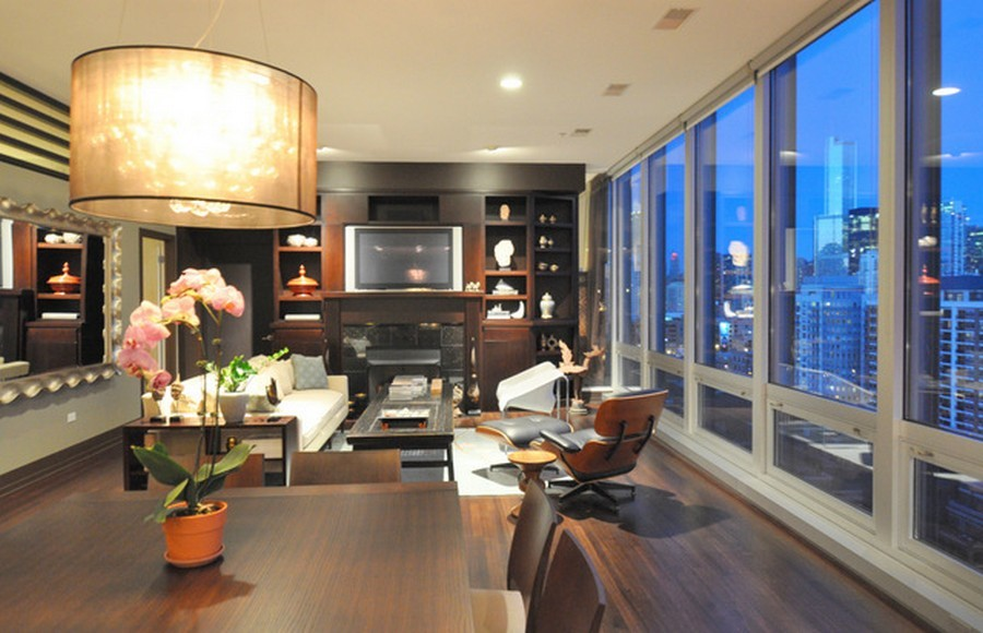 Real Estate Photography - 500 W Superior, Apt 1203, Chicago, IL, 60654 - Living Room/Dining Room with View