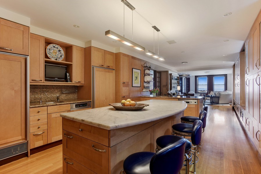 Real Estate Photography - 189 E Lake Shore Dr, Unit 10, Chicago, IL, 60611 - Kitchen View to Family Room