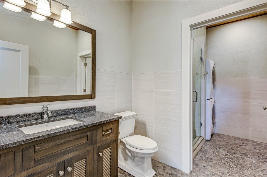 Real Estate Photography - 8545 Kearney Road, Downers Grove, IL, 60516 - Pool House Full Bath & Laundry