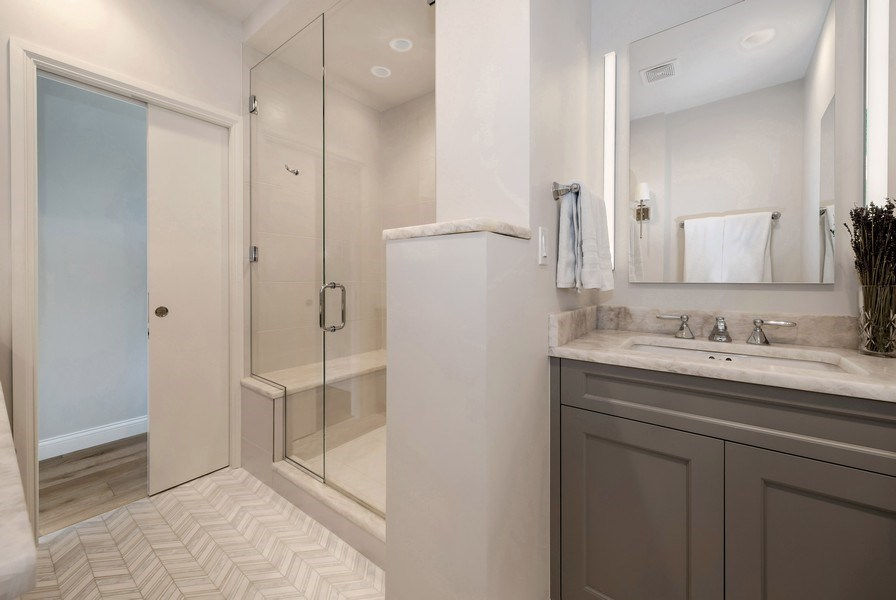 "Real Estate Photography - 1555 N Astor, 48W, Chicago, IL, 60610 - Master Bath, Another View, ""His"" Vanity"