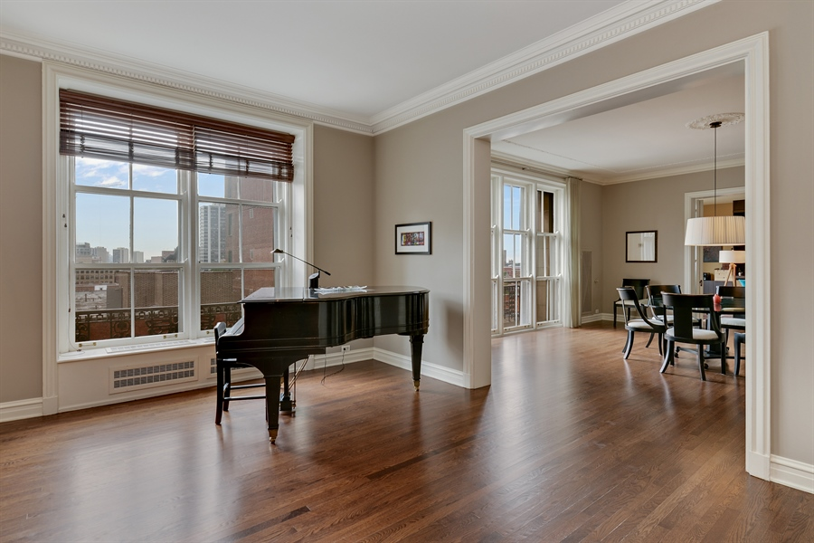 Real Estate Photography - 3400 N Lake Shore Drive, 6E, Chicago, IL, 60657 - Living/Dining Rooms