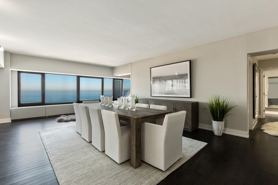 Real Estate Photography - 175 E Delaware, Unit 6402-03, Chicago, IL, 60611 - Dining Room
