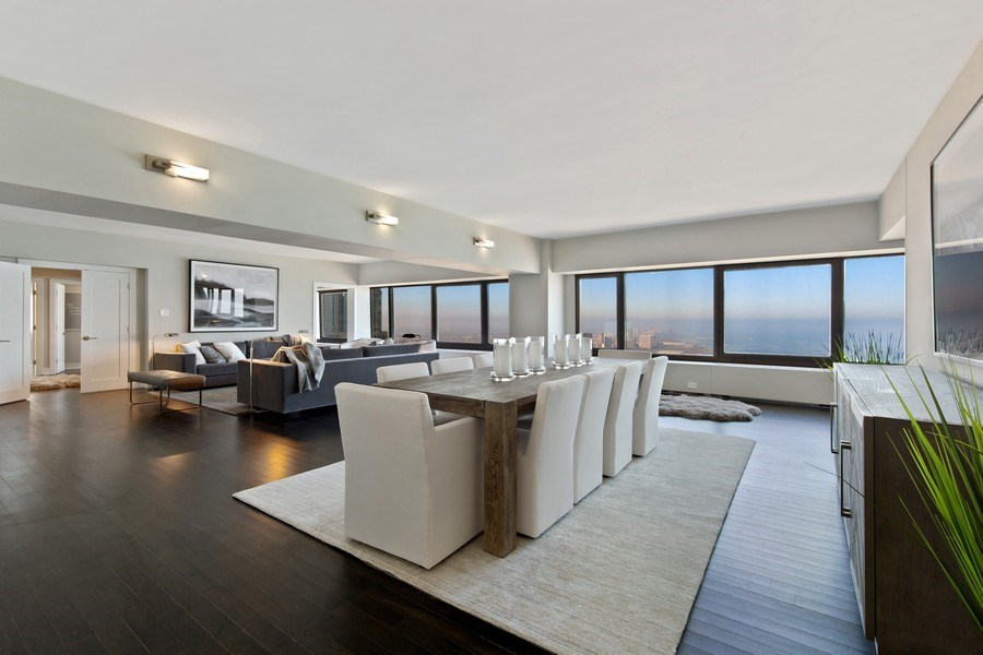 Real Estate Photography - 175 E Delaware, Unit 6402-03, Chicago, IL, 60611 - Living Room/Dining Room