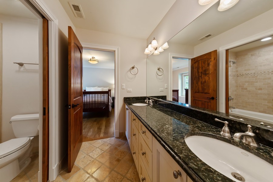 Real Estate Photography - 519 The Lane, Hinsdale, IL, 60521 - Jack and Jill Bathroom to Bedrooms 2 & 3
