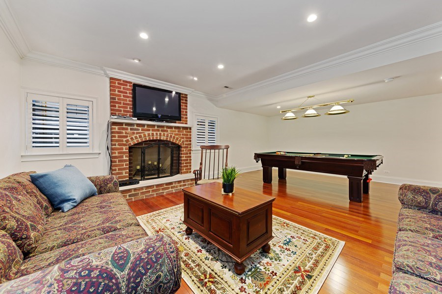 Real Estate Photography - 802 Franklin, Hinsdale, IL, 60521 - Lower Level Rec Room
