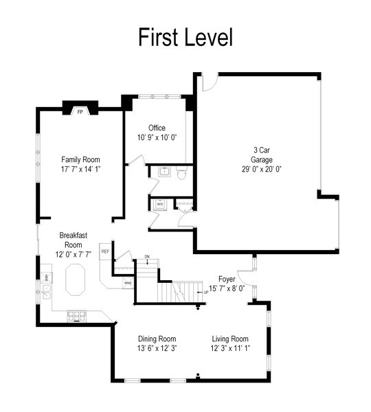 Real Estate Photography - 802 Franklin, Hinsdale, IL, 60521 - Floor Plan First Floor