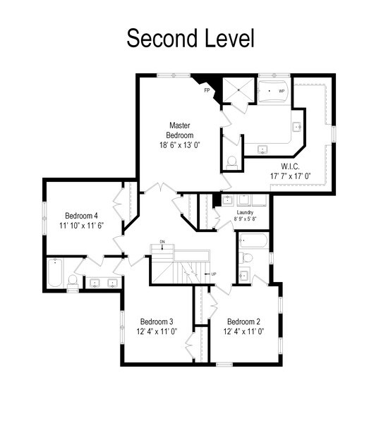Real Estate Photography - 802 Franklin, Hinsdale, IL, 60521 - Floor Plan Second Floor