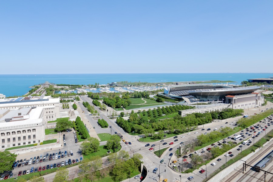 Real Estate Photography - 233 E 13th St, Unit 604, Chicago, IL, 60605 - View from penthouse party room