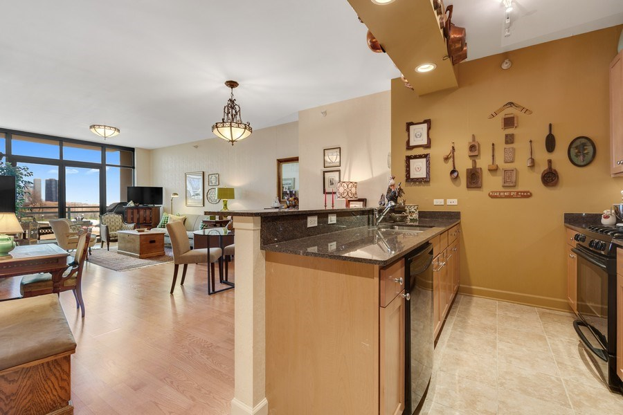 Real Estate Photography - 233 E 13th St, Unit 604, Chicago, IL, 60605 - Kitchen / Living Room