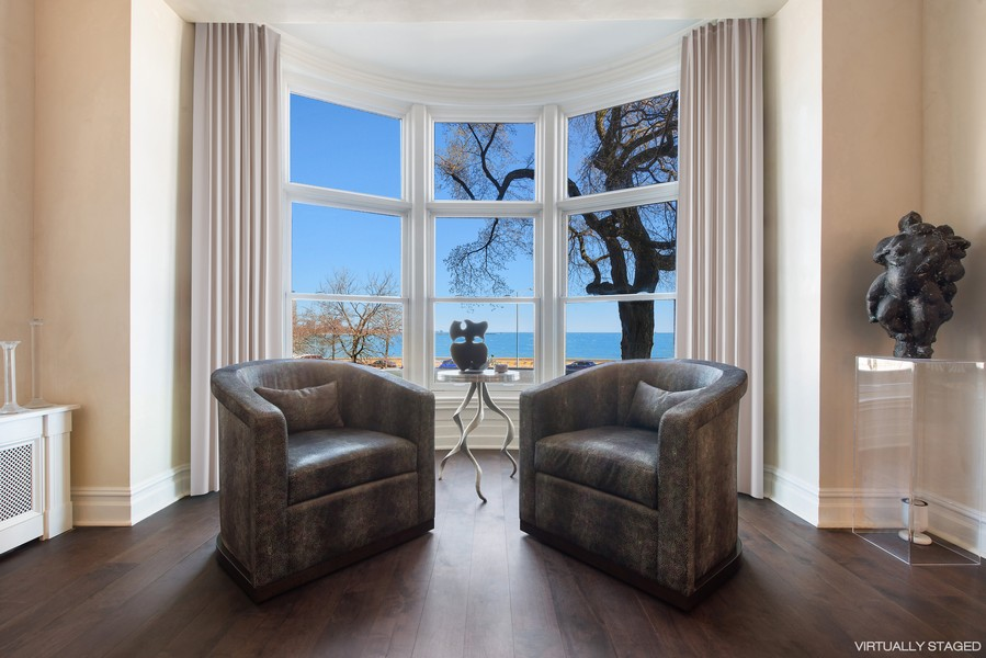 Real Estate Photography - 999 N. Lake Shore, 2A, Chicago, IL, 60611 - Living Room with Bow Window