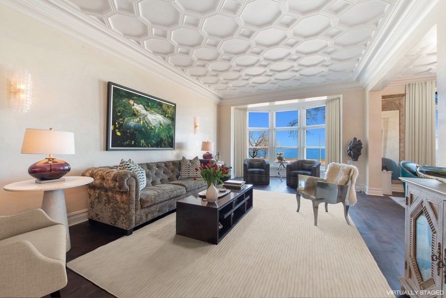 Real Estate Photography - 999 N. Lake Shore, 2A, Chicago, IL, 60611 - Living Room with Lake Michigan View