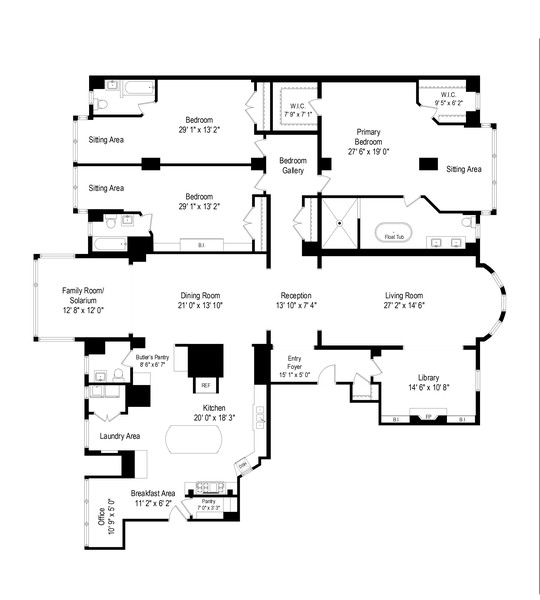 Real Estate Photography - 999 N. Lake Shore, 2A, Chicago, IL, 60611 - Floor Plan