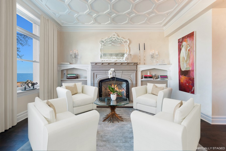 Real Estate Photography - 999 N. Lake Shore, 2A, Chicago, IL, 60611 - Library off of Living Room