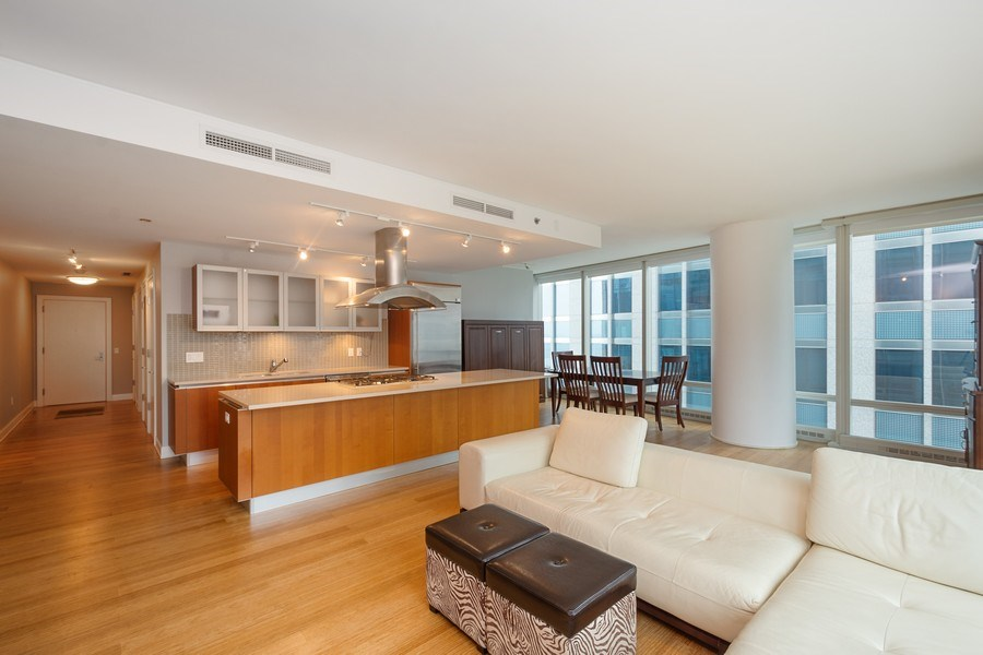 Real Estate Photography - 340 E Randolph Street, #1906, Chicago, IL, 60601 - Kitchen / Living Room