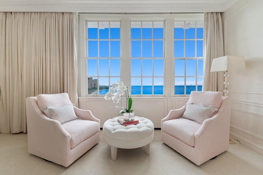 Real Estate Photography - 199 E Lake Shore, PH10W, Chicago, IL, 60611 - Master Bedroom Sitting Area