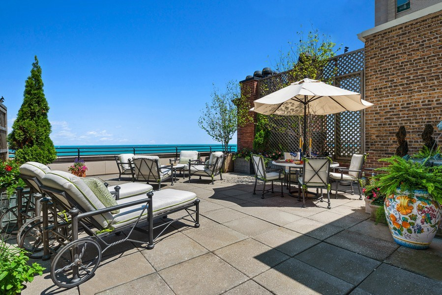 Real Estate Photography - 199 E Lake Shore, PH10W, Chicago, IL, 60611 - North Side of Terrace (South side shown later)