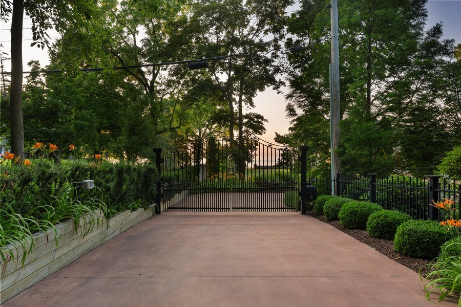Real Estate Photography - 11001 Marquette Drive, New Buffalo, MI, 49117 - Main Entry Gate From Street