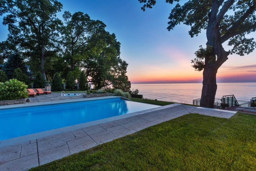 Real Estate Photography - 11001 Marquette Drive, New Buffalo, MI, 49117 - Pool and sunset