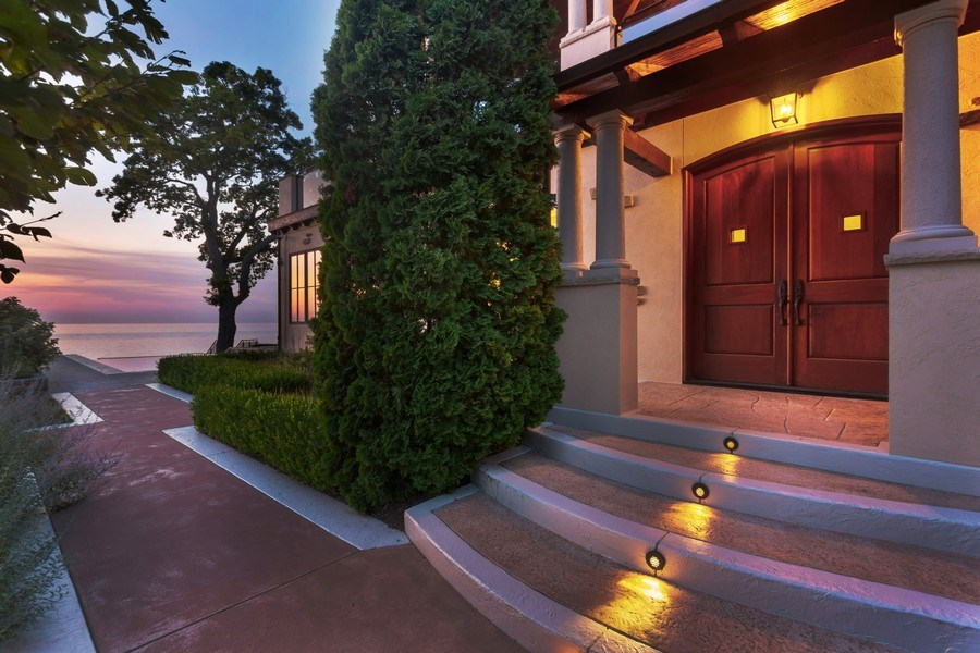 Real Estate Photography - 11001 Marquette Drive, New Buffalo, MI, 49117 - Front Door Entry to Pool & Lake Michigan