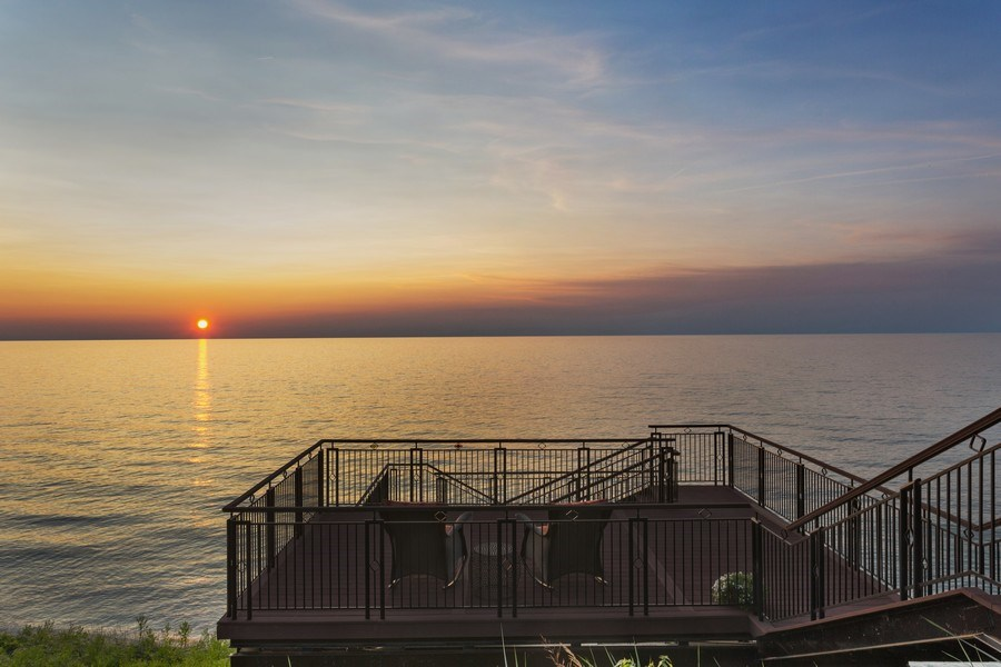 Real Estate Photography - 11001 Marquette Drive, New Buffalo, MI, 49117 - Upper Deck Lake Michigan at sunset