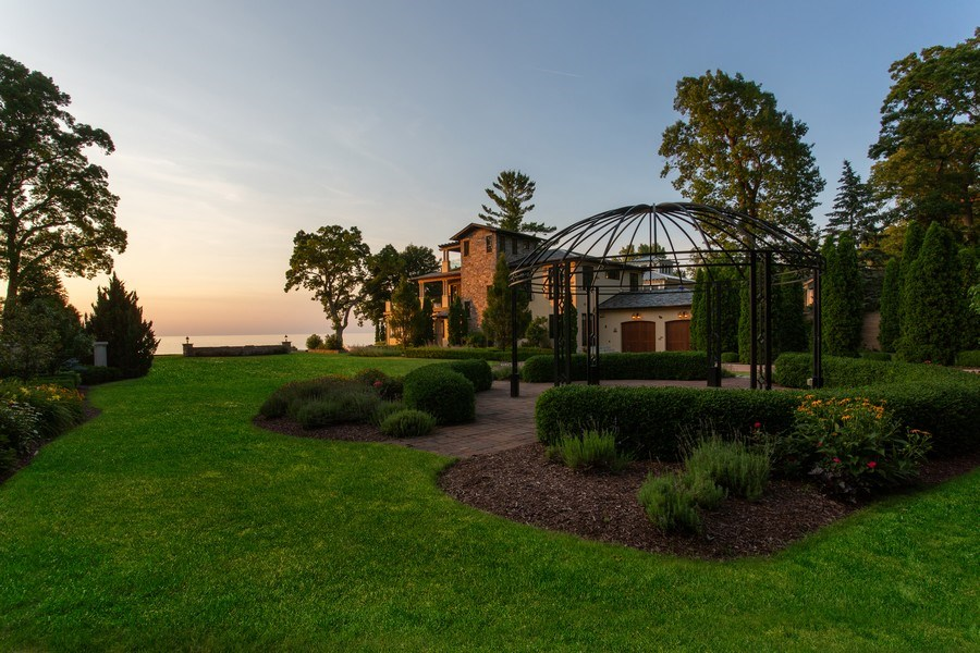 Real Estate Photography - 11001 Marquette Drive, New Buffalo, MI, 49117 - Gardens to House and Lake Michigan