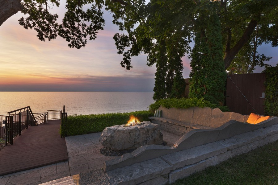 Real Estate Photography - 11001 Marquette Drive, New Buffalo, MI, 49117 - Firepit at sunset