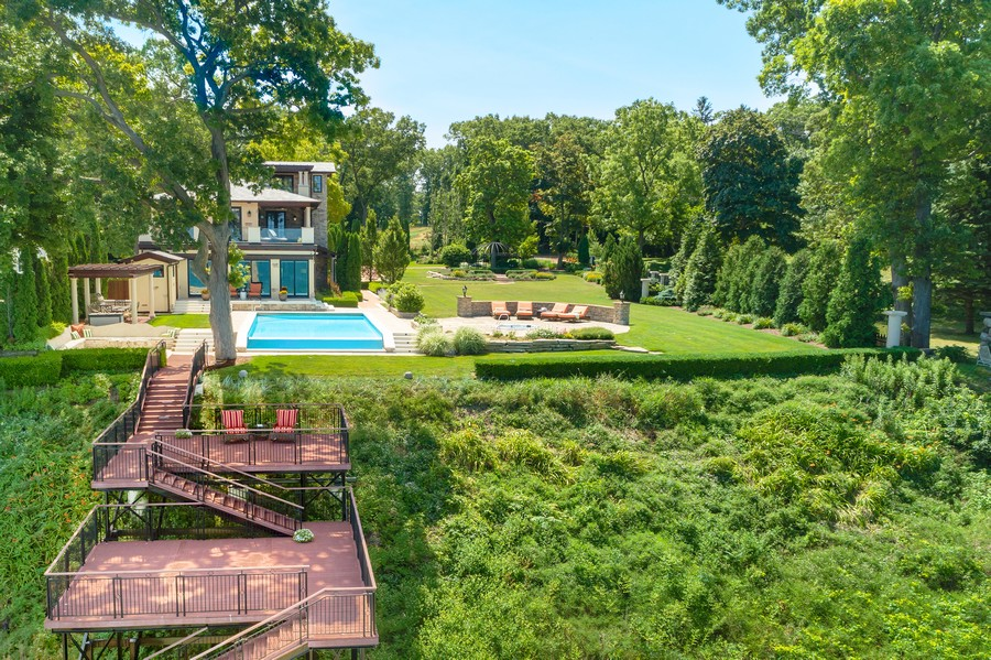 Real Estate Photography - 11001 Marquette Drive, New Buffalo, MI, 49117 - View Lake Michigan to Decks & Pool