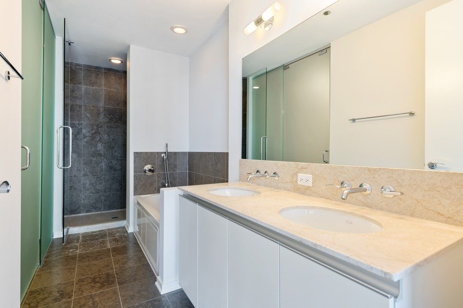 Real Estate Photography - 600 N. Fairbanks Ct., 2104, Chicago, IL, 60611 - Master Bathroom