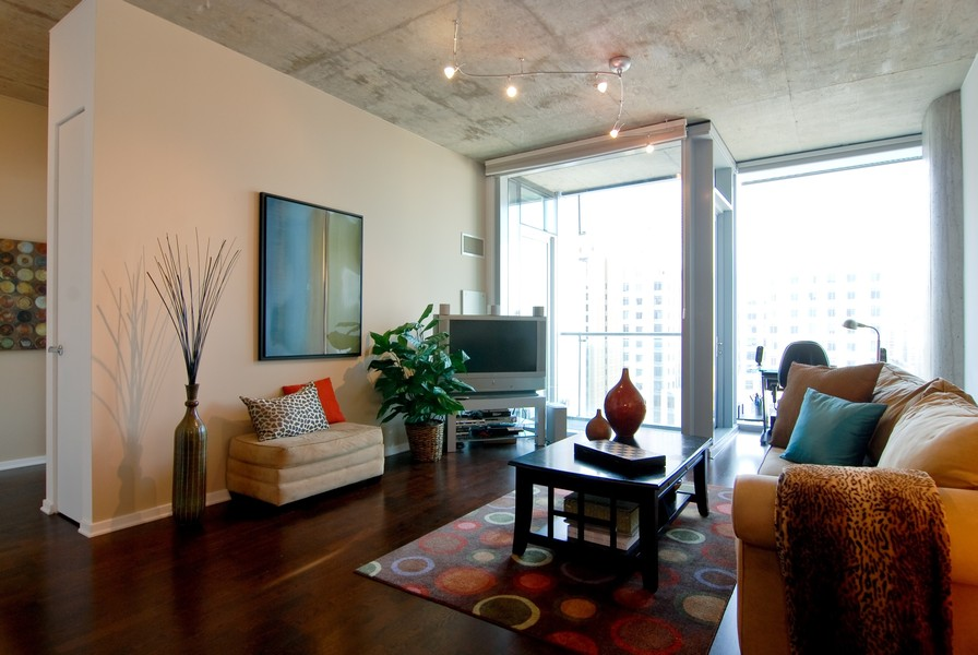 Real Estate Photography - 600 N. Fairbanks Ct., 2104, Chicago, IL, 60611 - Living Room Furnished