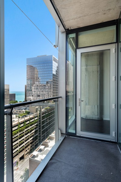 Real Estate Photography - 600 N. Fairbanks Ct., 2104, Chicago, IL, 60611 - Recessed Glass Balcony