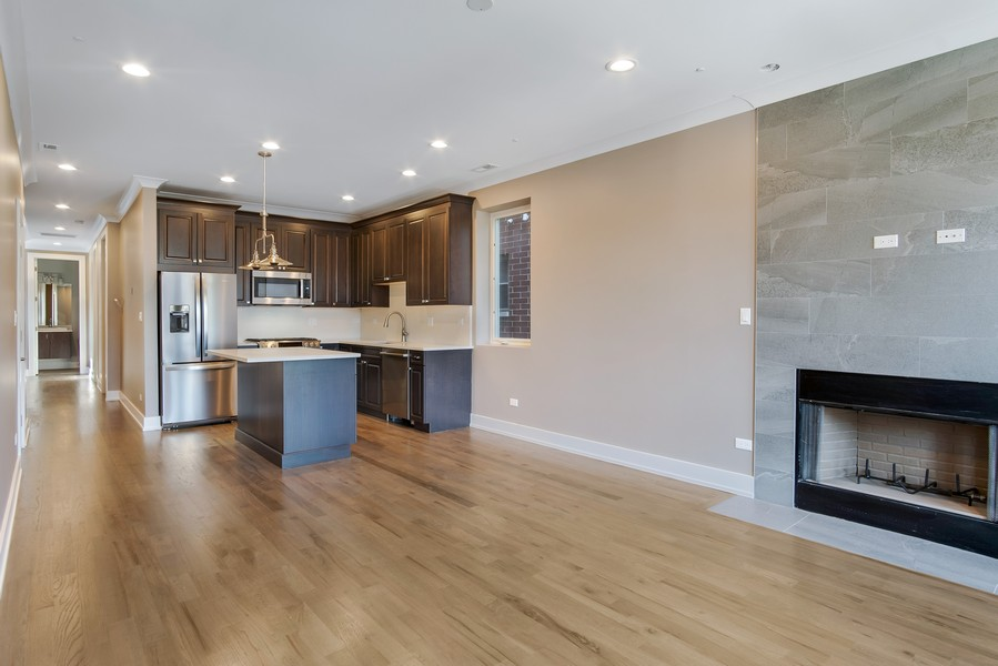 Real Estate Photography - 1415 W Walton St, #2, Chicago, IL, 60642 - Kitchen / Living Room