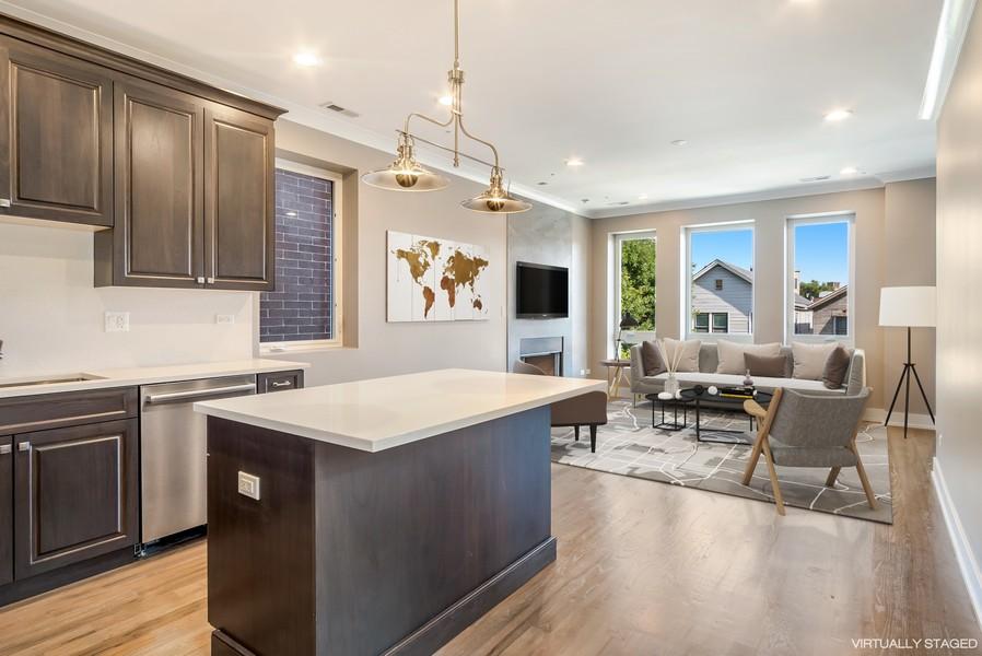 Real Estate Photography - 1415 W Walton St, #2, Chicago, IL, 60642 - Kitchen/Living