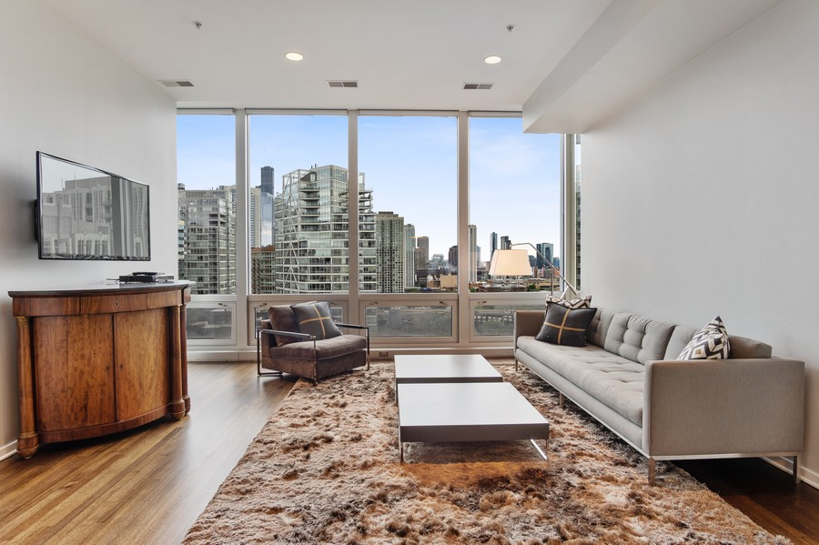Real Estate Photography - 500 W Superior, 1305, Chicago, IL, 60654 - Living Room