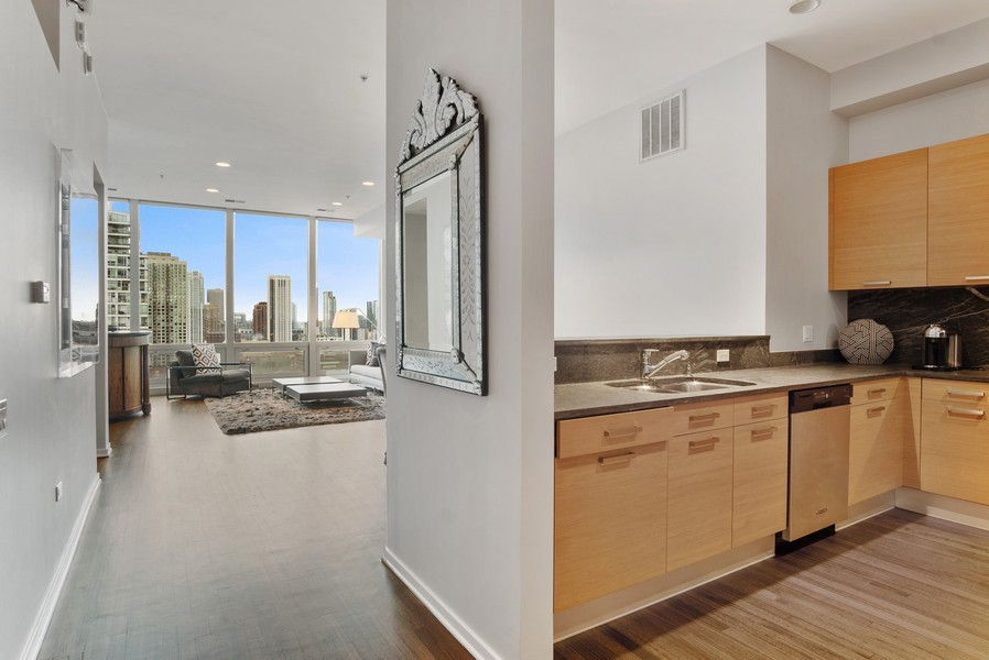 Real Estate Photography - 500 W Superior, 1305, Chicago, IL, 60654 - Kitchen / Living Room