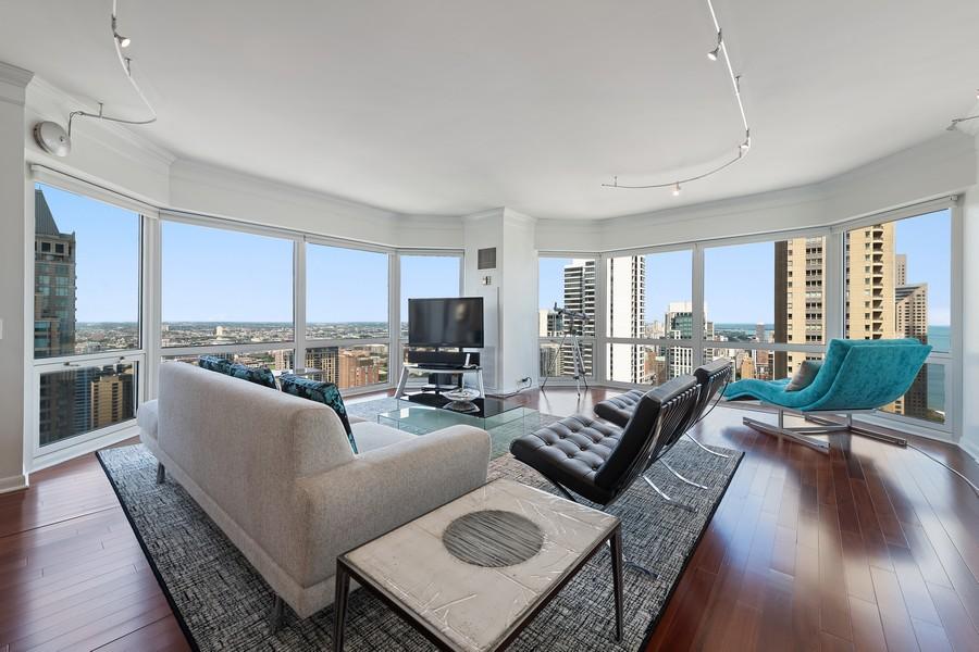 Real Estate Photography - 100 E Huron, 3702, Chicago, IL, 60611 - Living Room