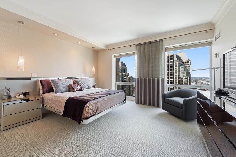 Real Estate Photography - 100 E Huron, 3702, Chicago, IL, 60611 - Master Bedroom