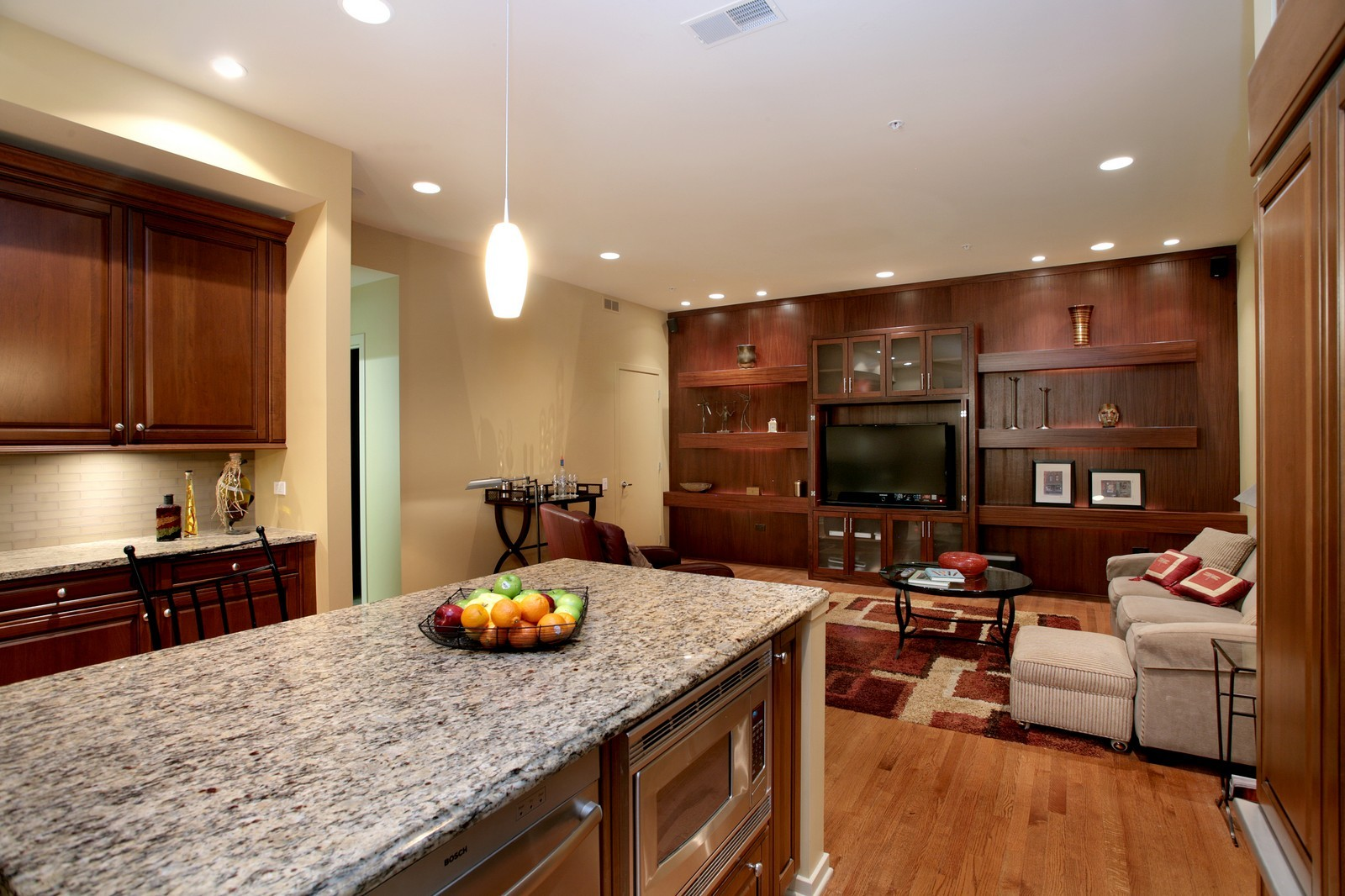 Real Estate Photography - 500 W Superior, Unit 703, Chicago, IL, 60654 - Family Room / Kitchen