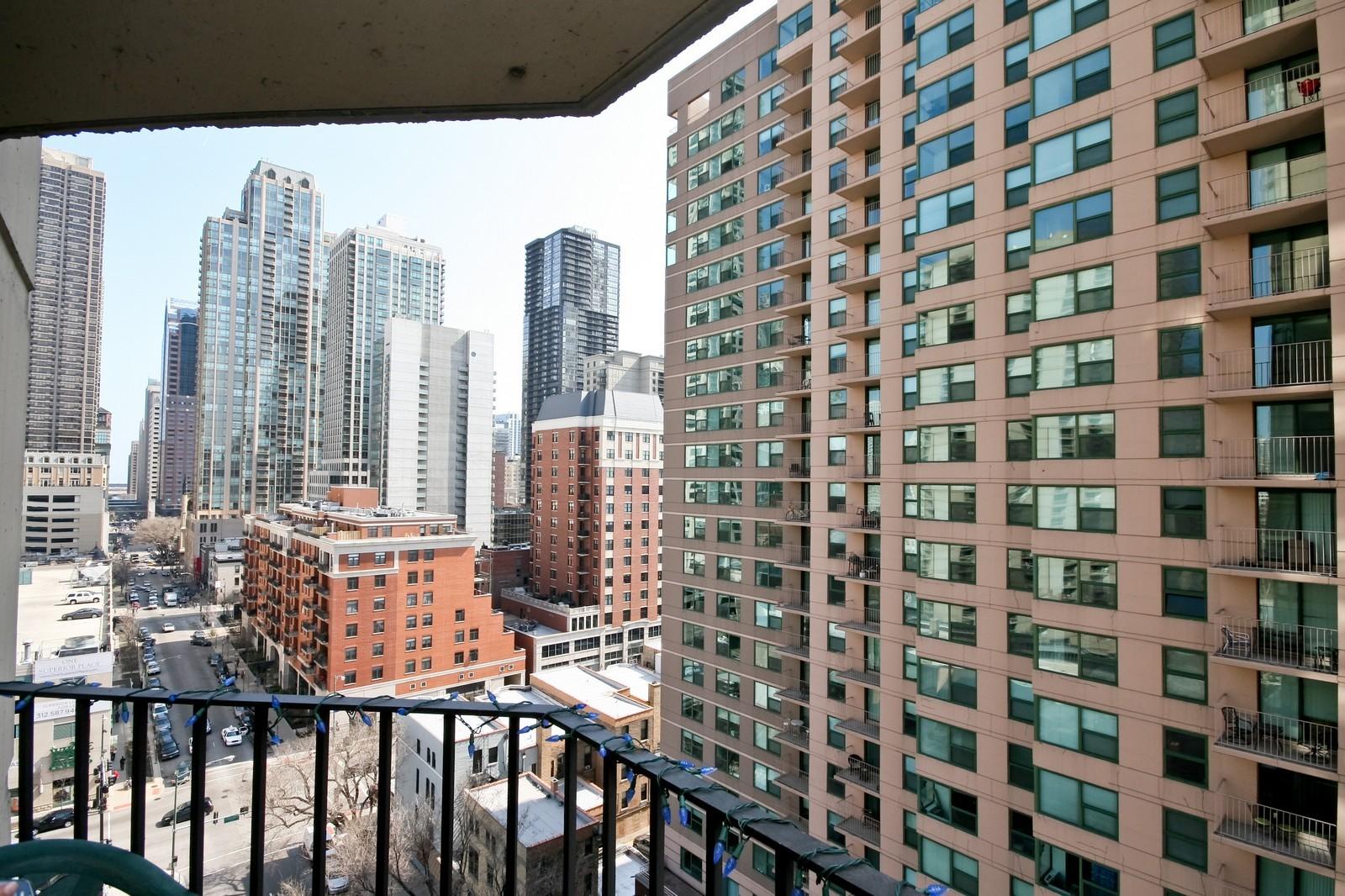 Real Estate Photography - 70 W Huron, Unit 1308, Chicago, IL, 60610 - Balcony