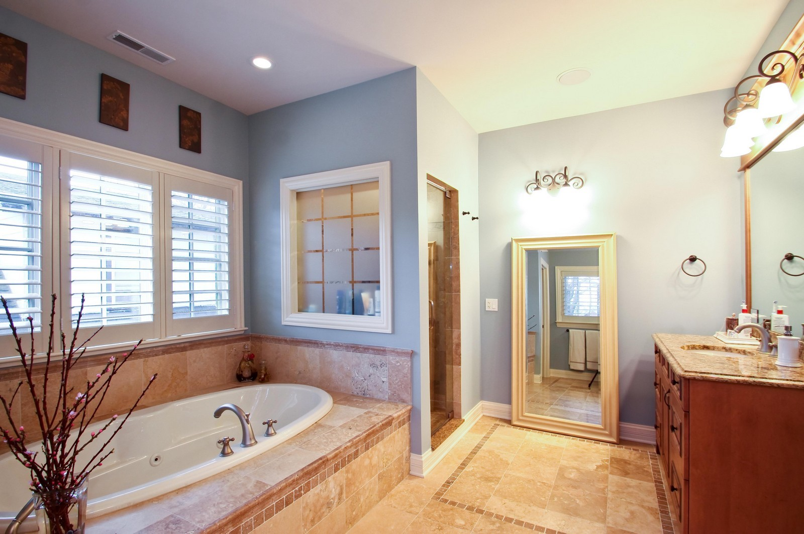Real Estate Photography - 431 Adams Ave, Glencoe, IL, 60022 - Retreat & relax in the spa-like master bath.