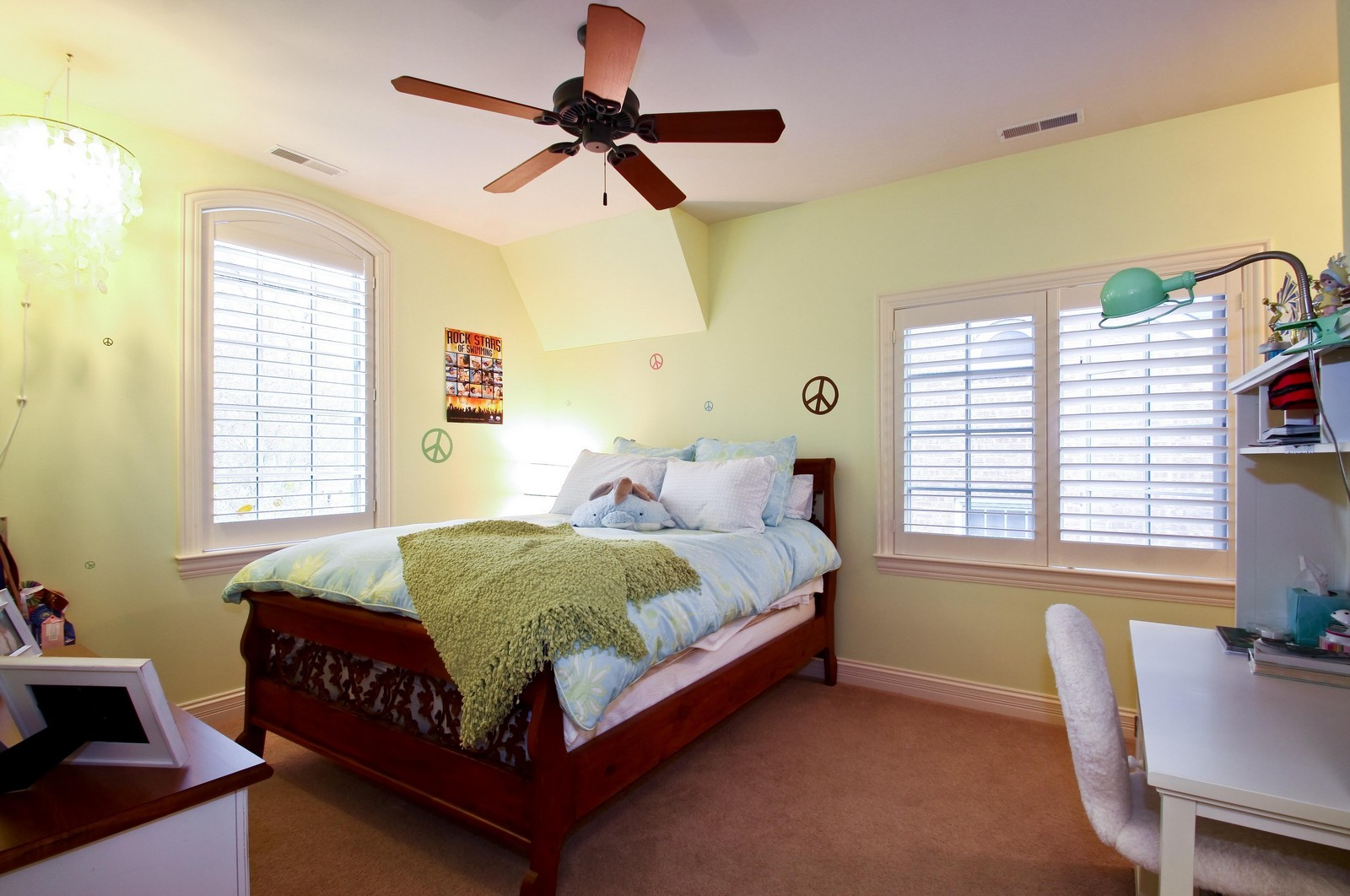 Real Estate Photography - 431 Adams Ave, Glencoe, IL, 60022 - Custom shutters add style to BR suite.