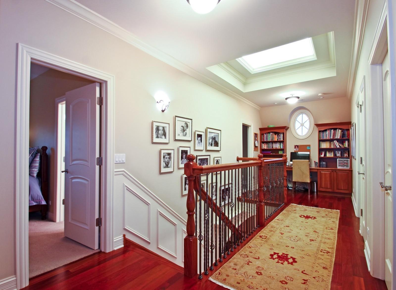 Real Estate Photography - 431 Adams Ave, Glencoe, IL, 60022 - Sunshine streams thru custom skylight.