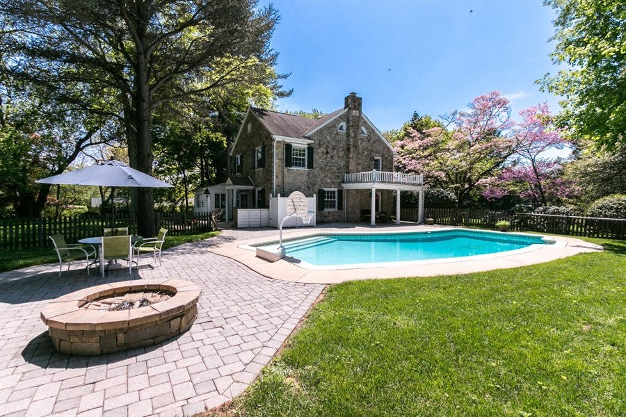 Real Estate Photography - 615 Old Wilmington Rd, Hockessin, DE, 19707 - Beautiful Patio with Fire Pit