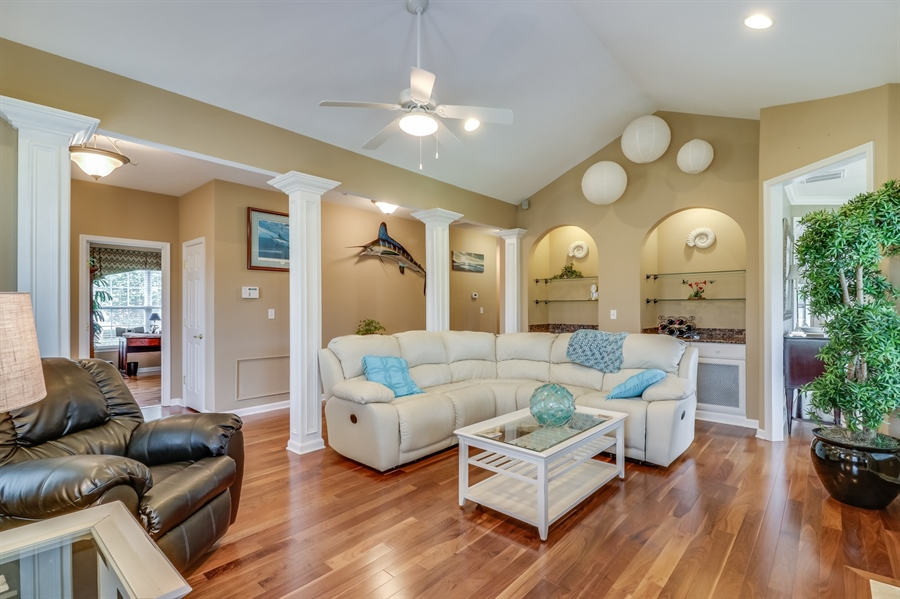 Real Estate Photography - 13 Beacon Cir, Millsboro, DE, 19966 - Elegant living room w/cathedral ceiling & f/place