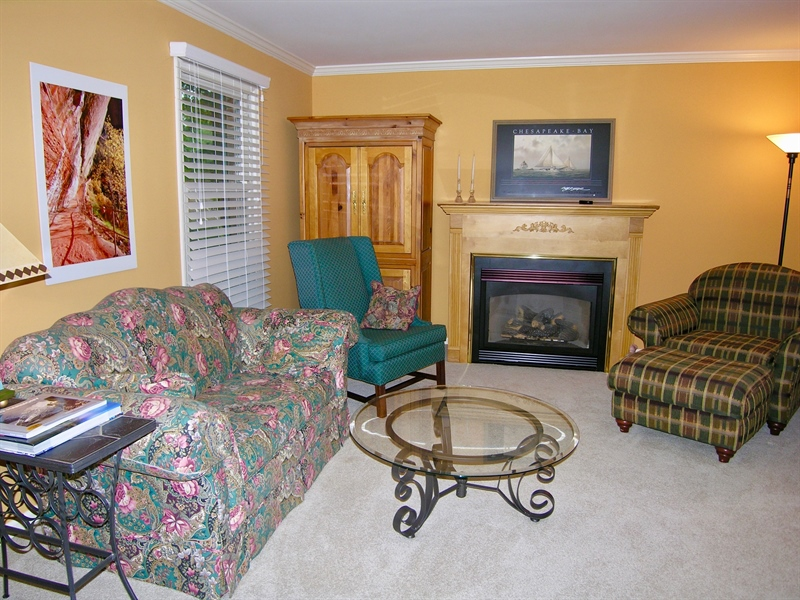 Real Estate Photography - 135 Belmont Dr, Wilmington, DE, 19808 - Living Room with gas fireplace