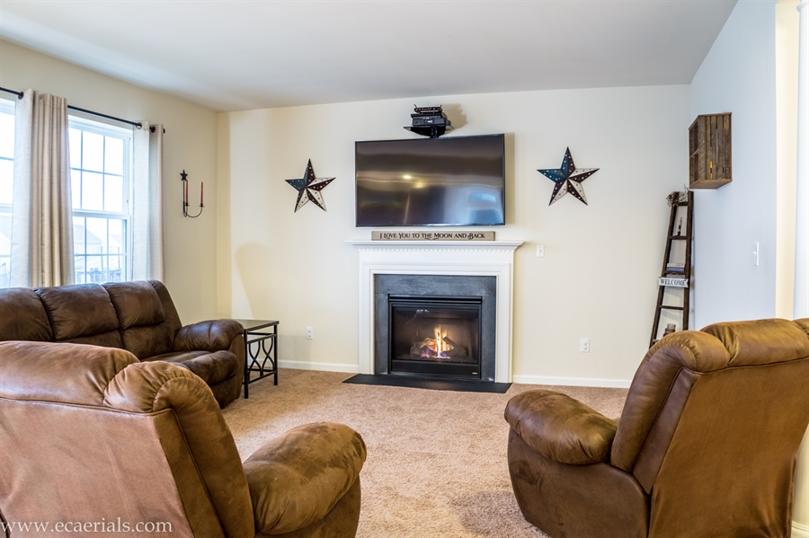 Real Estate Photography - 160 Shannon Blvd, Middletown, DE, 19709 - Family Room with Gas Fireplace