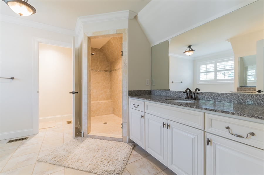 Real Estate Photography - 515 Giada Drive, Wilmington, DE, 19808-1430 - Master bath with granite & upgraded tile