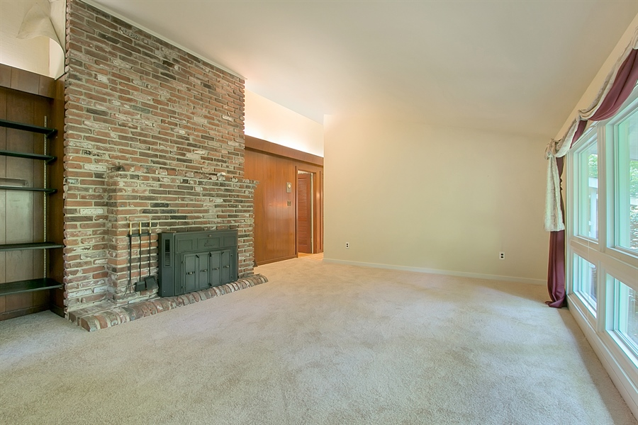 Real Estate Photography - 40 Indian Field Rd, Wilmington, DE, 19810 - Floor-to-Ceiling Brick Fireplace