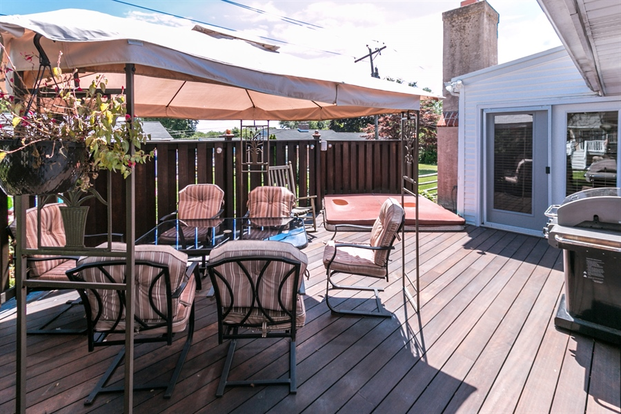 Real Estate Photography - 5 Wheatfield Dr, Wilmington, DE, 19810 - African Mahogany Deck with Sunken Hot Tub