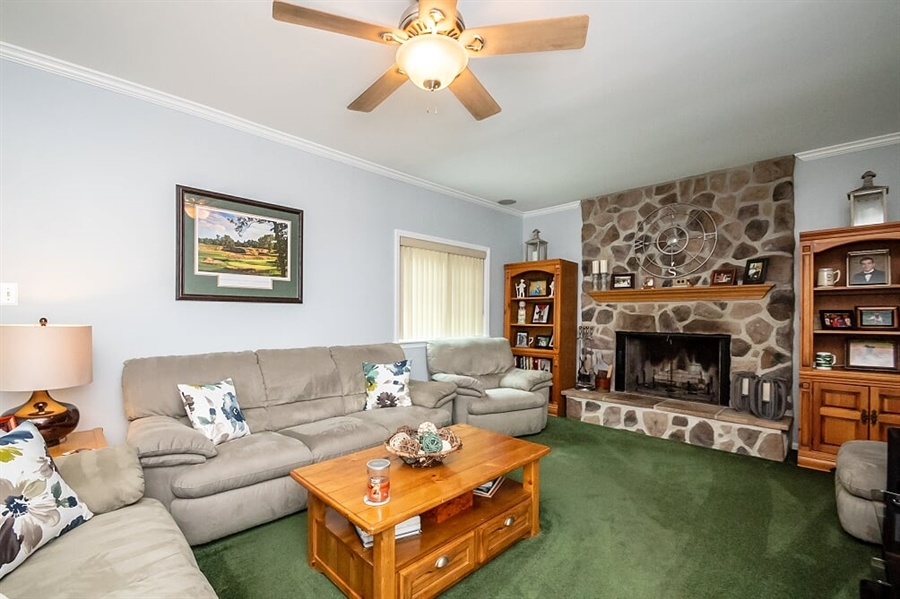 Real Estate Photography - 2319 Empire Dr, Wilmington, DE, 19810 - Huge family room with stone fireplace